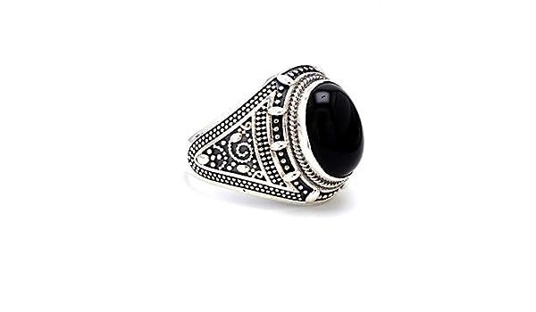 Herren Ring Sterling Silber 925 Onyx Ottoman Stil Schwarz