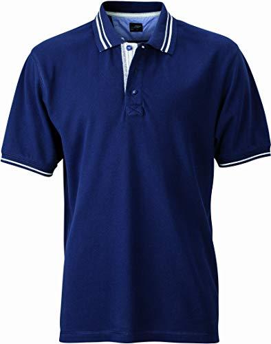 James & Nicholson Herren Poloshirt Poloshirt Men's Lifestyle blau (navy/off-white) X-Large (Herren Blau Shirt Navy)