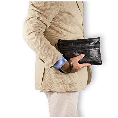 4fcc0b979a Pochette uomo da polso morbida patchwork Piccola borsa a mano nera Borsello  Borsetta casual moto x chiavi portafoglio sportiva viaggio ragazzo  primavera ...