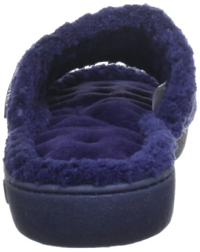 Isotoner  Popcorn Open Toe Terry Mule, chaussons femme bleu (Dark Navy)