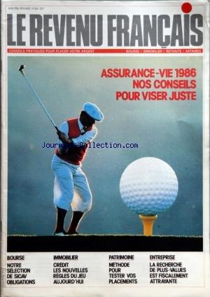 REVENU FRANCAIS (LE) [No 186] du 01/04/1986 - ASSURANCE-VIE 1986 - NOS CONSEILS - BOURSE - SICAV OBLIGATIONS - IMMOBILIER - CREDIT - PATRIMOINE - METHODE POUR TESTER VOS PLACEMENTS - ENTREPRISE - LA RECHERCHE DE PLUS-VALUES EST FISCALEMENT ATTRAYANTE par Collectif