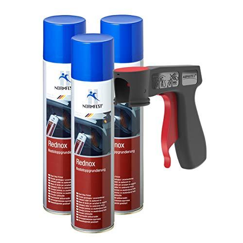 AUPROTEC Rostwandler Roststopp Grundierung Rednox Anti Rostspray Rost Stop Schutz Spray 3X 400ml + 1x Original Pistolengriff -
