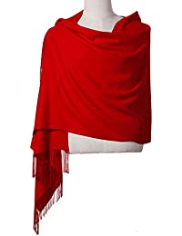 "Womens Pashmina Shawl Wrap Scarf - Ohayomi Solid Color Cashmere Stole Extra Large 78""x28"" (Red)"