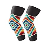 Knee Brace Colorful Tribal Native Square Pattern Support Compression Sleeves,1 Pair Anti-Slip for Arthritis,ACL,Running,Pain Relief,Injury Recovery,Basketball and More Sports