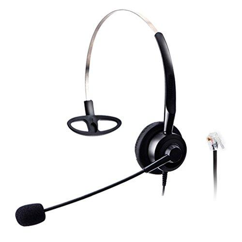 Wantek Call Center Telefon Headset Kopfhörer Mono mit Flexibel Noise Cancelling Mikrofon für Plantronics Mitel Nortel Norstar Meridian Audioline Elmeg Ericsson GE ESI Hybrex Festnetz Telefon (H210P1A)