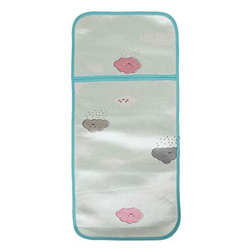 Neugeborenes Baby Ice Silk Schlafmatte Sommer Kleinkind Coole Kinderwagen Sitzkissen Atmungsaktive Krippe Pad(Hellgrüne Wolken)