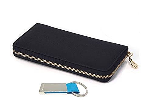 Women's Genuine Leather Purse Long Organizer Wallet with Wrist Strap Clutch & Keychain (Black)