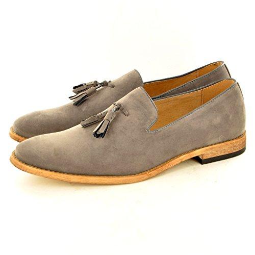 Herren Leder Slip auf Wildleder gefüttert Quaste Loafer Schuhe Grau