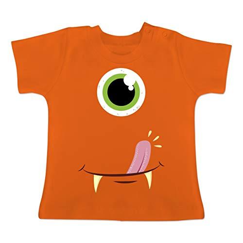 Karneval und Fasching Baby - Monster Gesicht Kostüm - 18-24 Monate - Orange - BZ02 - Baby T-Shirt Kurzarm (Rosa Baby Monster Kostüm)