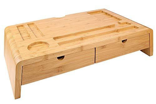 HTB Bambus-Monitorständer mit Schubladen für Computer, Laptop, Drucker und TV, Schreibtischzubehör & Arbeitsplatz-Organizer für Zuhause und Büro -