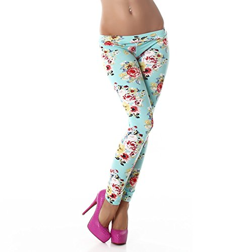 PF-Fashion Damen Leggings Leggins Body Slim Hose Karotte Lang Design Tapered Tarnmuster Blumen Batik F9353 Mint