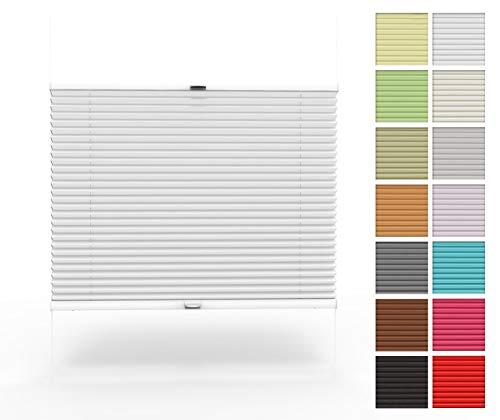 Home-Vision Premium Plissee nach Maß, zum Anschrauben in der Glasleiste Innenrahmen Blickdicht Plissee Jalousie mit Halterungen zum Bohren, Sonnenschutzrollo (Weiß, B71-80cm x H151-200cm)