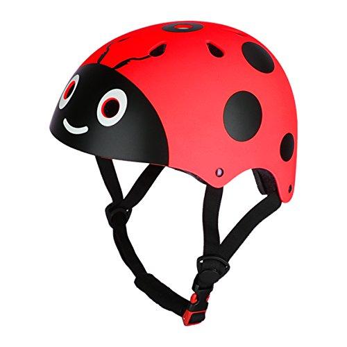 CHICTRY Casco Bicicleta Infantil Ciclismo Casco de Seguridad para Niños Ajustable Casco de Animal Unisex Protección Patines Niños Rojo One Size