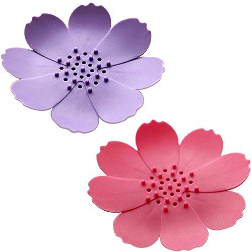 Dianoo 2pcs Boîte À Savon, Porte-savon Stéréoscopique En Forme De Fleur, Boîte De Vidange D'eau De Gel De Silice (Couleurs Aléatoires)