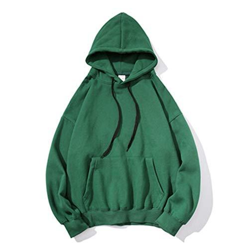 ZHOUJINGTIAN Herbst und Winter mit Kapuze einfarbig Pullover männlich lose Paar Jacke lässig Größe Hoodie grün 3XL -