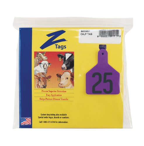 Z etiquetas 1 pieza Pre-numerados estampilla caliente etiquetas para terneros, números de 151 A 175, púrpura