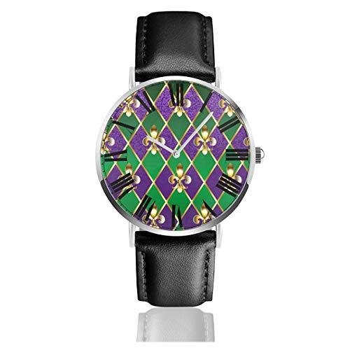 of Purple and Green Rhombus Herren/Damen Uhren Schwarz Ultra Dünn Wasserdicht Leder Armbanduhr Business Mode Casual Einfache Kleid Klassische Analog Quarzuhr ()