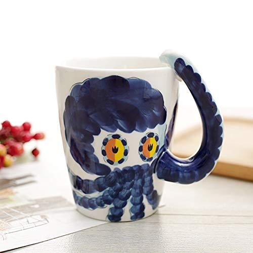 dbemalte Keramik Wassertasse Niedliche Cartoon-Tasse Kaffeetasse Piggy Styling 400ml Handgezeichnete Krake ()