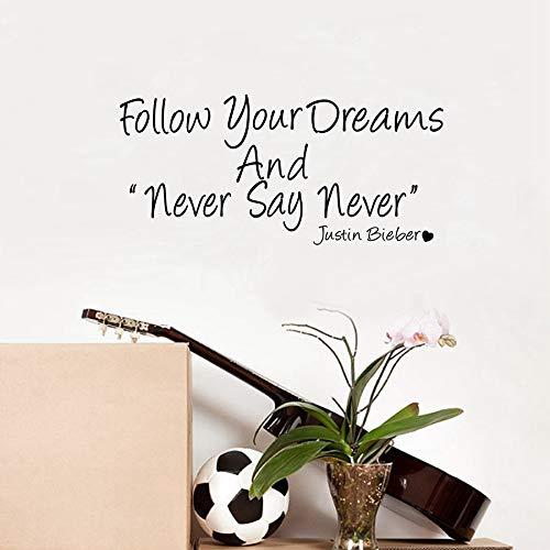 Sag niemals nie JUSTIN BIEBER Inspirational Zitate Vinyl Wandaufkleber Positive Sprichwort Für Kinderzimmer/Schlafzimmer/Wohnzimmer Dekor 75X41CM
