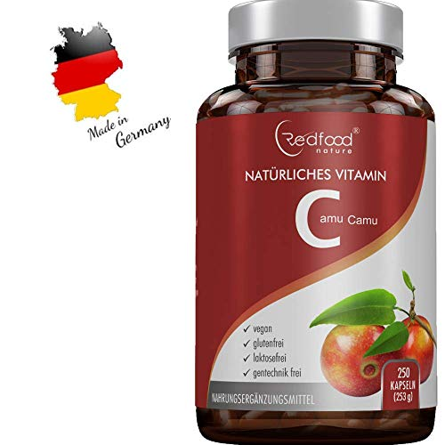REDFOOD® Camu Camu Extrakt 600mg natürliches Vitamin C Hochdosiert XXL Dose 250 vegane Kapseln laborgeprüft und hergestellt in Deutschland -