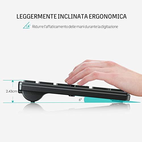 VicTsing Tastiera e Mouse Wireless per PC Tastiera Wireless PC Kit Combo Set
