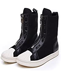 Zapatos de Corea zapatos botas altas elástica transpirable, negro, 35