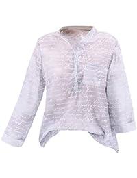 Ropa de Mujer Tamaño Grande Flor Imprimir Botón Manga Larga Camisa Pulóver Bolsillo Top,Lonshell