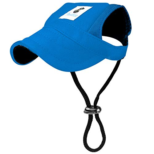 (Pawaboo Hunde Baseball Cap Mütze Basecap Baseballmütze Hut Hundecap mit Ohrlöchern für Welpen Haustier, S, Blau)