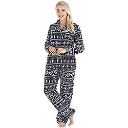 PajamaMania Ensemble Pyjama Femme en Molleton Longues Manches 2 pièces avec Boutons, Jacquard Noir (PMPFR1013-2086-XL)