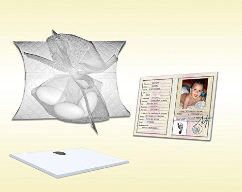 10 bomboniere battesimo bimbo personalizzabile carta d'identita' plexiglass