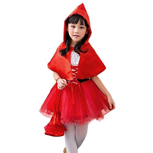 Imagen de m&a disfraz vestido de caperucita roja para niña, costume cosplay carnaval fiesta halloween 110/116/122 rojo