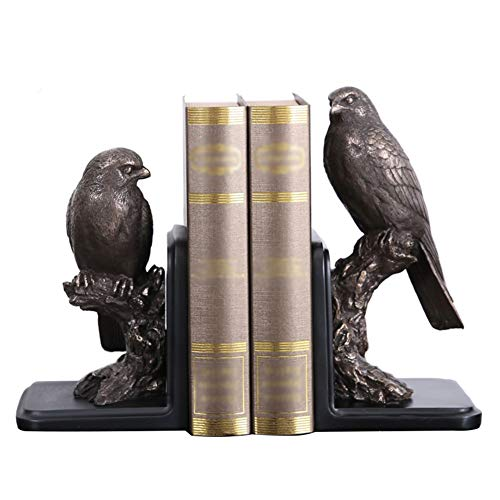 WQSD Adler Bookcase Office Buchstützen Schwere Und Küchenbücher Dekorative Bücherregale Resin Bookends Handgeschnitzte Traditionelle Resin 2-teilige Sets, 14 * 24 * 29cm Dunkles Gold -