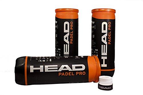 PACK DE 3 BOTES DE PELOTAS BOLAS DE PADEL TENIS HEAD PADEL PRO WPT + 1 OVERGRIP HEAD XTREME PERFORADO BLANCO GRATIS