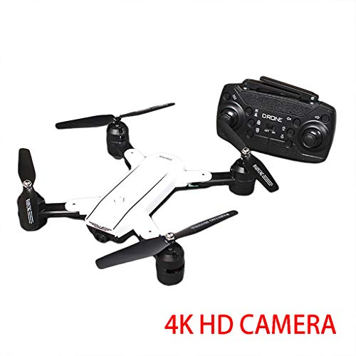 HKFV ZD5 Drone avec caméra HD 4K 2.4Ghz 4CH WiFi FPV Caméra Grand Angle Helicoptère Pochette Selfie Drone Double caméra Pliable, Altitude Hold Drone Pliant (White)