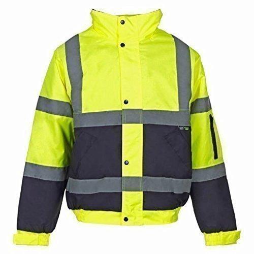 Hi Viz - Herren Männer Bomber Jacke Zweifärbig Reflektierendes Band Wasserfeste Gesteppte Sicherheits Arbeitsjacke - Gelb/Marineblau, M
