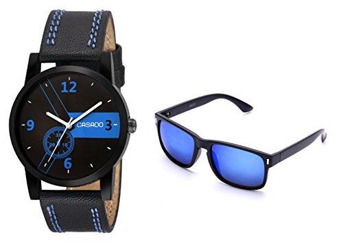 CASADO BLACK SLIM Series Round Analog Wrist Watch and 1 Blue Reflector Wayfraer Sunglasses for Men\'s AND Boy\'s