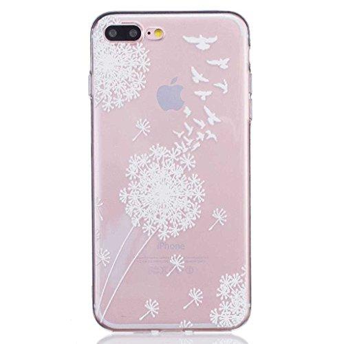iPhone 7 Hülle [mit Frei Panzerglas Displayschutzfolie], BoxTii® iPhone 7 Schutzhülle Transparent Silikon TPU Bumper Case, Anti-Scratch UltraSlim Weiche Rückdeckel für Apple iPhone 7 (#8 Löwenzahn) #8 Löwenzahn