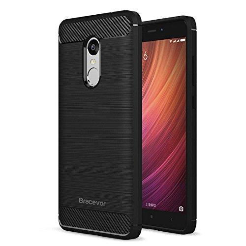 Bracevor Xiaomi Redmi Note 4 Back Case Cover   Flexible Shockproof TPU   Brushed Texture - Black