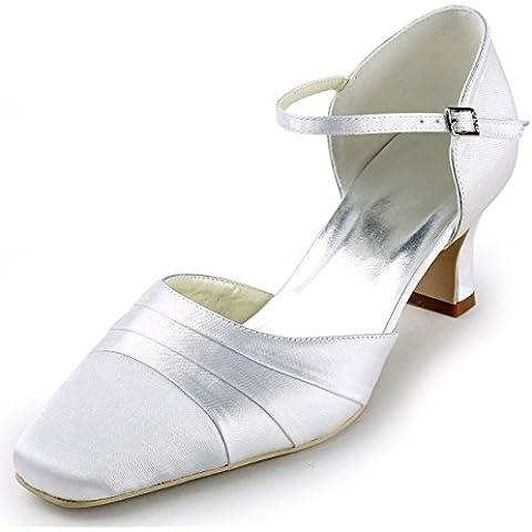 ElegantPark EP11110 Mujer Tal¨®n Medio Fiesta Zapatillas Plisado Correa De Tobillo Sat¨¦n Zapatos De Boda Plateado EU