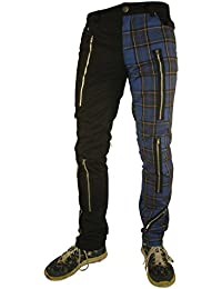 Rock Rag Tartan Pants Zipper, Color Black/Blue