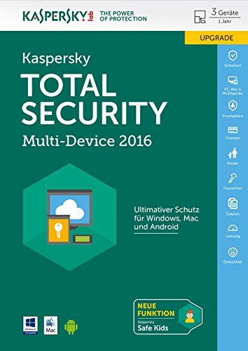 Kaspersky Total Security Multi-Device 2016 für bis zu 3 Geräte Upgrade [PC/Mac/Android Download]