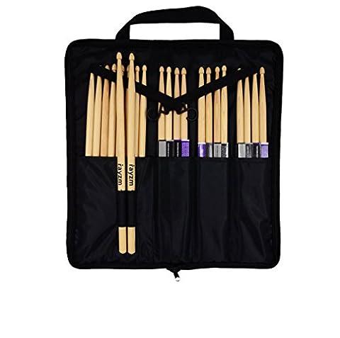 Rayzm Drum Stick Tasche Bag mit zusätzlicher Außentasche, Standard Polyester Stick Bag mit einem Tragegriff und Floor Tom Haken, 4 Innentaschen mit bis zu 12 Paar