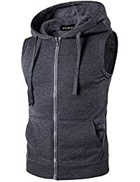 f2fc5d52d YCUEUST Mens Sleeveless Hoodie Zip Up Sweatshirt Tank Top Hooded
