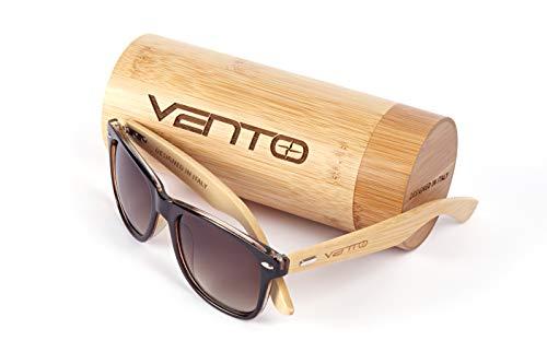 Vento Eyewear® Modelo Chinook TeaTwice - Gafas de Sol de Madera de bambú, diseñadas en Italia con certificados CE y protección UV400