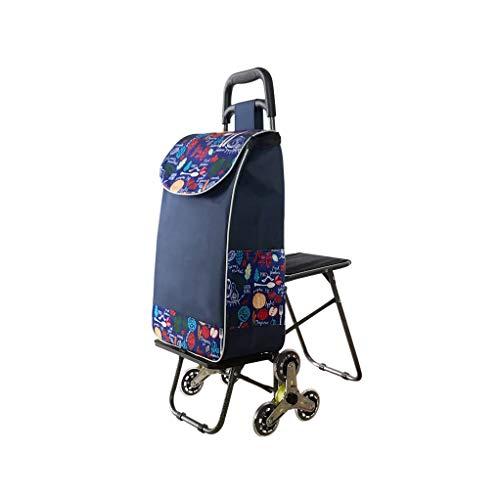 Supermarkt-Einkaufswagen-Faltbare Edelstahl-Achse, die EIN Treppen-Auto-Einkaufslaufkatzen-Haushalts-kaufende Gemüse-Laufkatze klettert GW (Farbe : Dunkelblau)