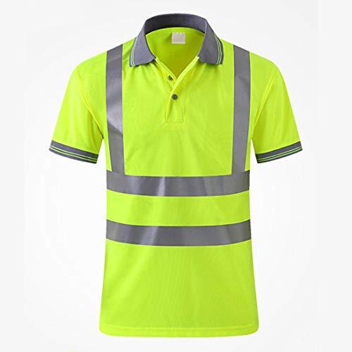 FeliciaWen Sicherheitskleidung Multi-Tasche reflektierende Kleidung Verkehr BAU Weste reflektierende Weste T-Shrit für Arbeit im Freien Aktivität Kleidung mit hoher Sichtbarkeit (Größe : XX-Large) -