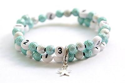 """Bracelet d'allaitement sur fil à mémoire de forme de 55mm avec perles en acrylique """"pailletées"""" de couleur turquoise et argenté"""