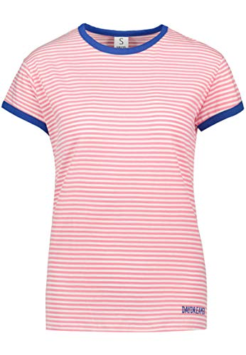 Sublevel Gestreiftes Colorblock Damen T-Shirt mit Stickerei pink L