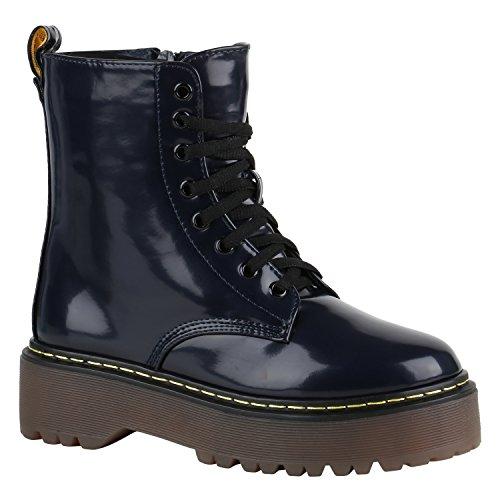 Gefütterte Damen Worker Boots Lack Grunge Punk Stiefeletten Schuhe 149563 Dunkelblau Berkley 37 Flandell