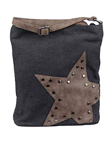 yourlifeyourstyle Canvas Tasche aufgenähter Stern mit Nieten - Damen Mädchen Teenager Umhängetasche - Maße ohne Schulterriemen 27 x 30 cm (schwarz/braun)